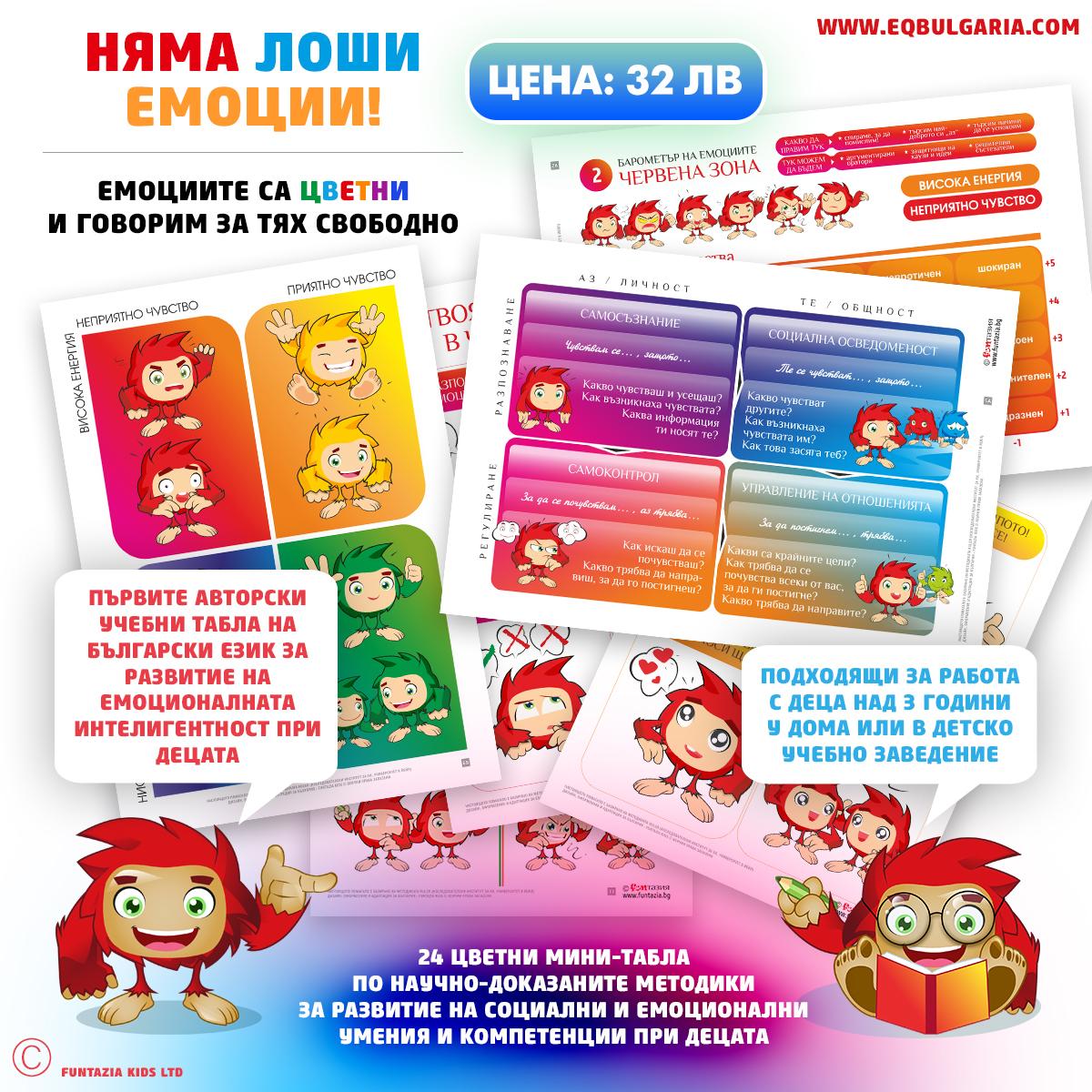 учебен комплект детски мини-табла за развитие на социално-емоционални умения (емоционална интелигентност)